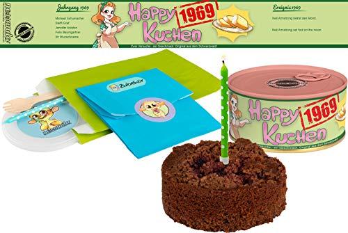 Happy Kuchen   Kuchen in der Dose   Personalisiert mit Wunsch- Geburtsjahr, Namen und Geschmack   Geburtstagsgeschenk   Geschenk   Geschenkidee (Schoko-Kirsch, Geburtsjahr 1969)