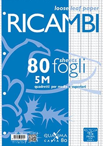 Pigna 00629065M, Ricambio non rinforzato, Rigatura 5M, quadretti 5 mm per 2° e 3° elementare, Carta 80g/mq, Pacco da 80 Fogli