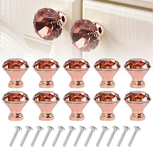 ODOMY 10 Pack Crystal Glass Cabinet Knobs 30mm, Rose Gold Diamond Shape Glass Knob and Pull Handle for Kitchen Bathroom Cabinet Door Wardrobe Cupboard (10 PCS, Rose Gold)