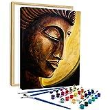 AiN Katy - Cuadro Buda - Pintura por números - Kit de manualidades de lienzo con marco, colores, pinceles, para adultos, niños, principiantes, perfecto como cuadro de pared, póster.