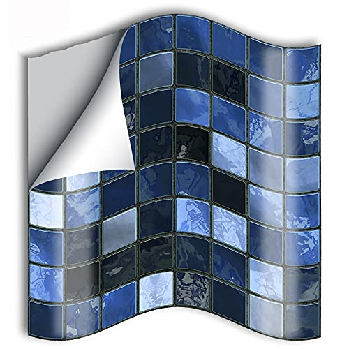 azulejos adhesivos cocina,25 piezas de pegatinas de azulejos de mosaico azul restauradas de mejoras para el hogar, pegatinas de pared de cocina pegatinas de azulejos -10cm