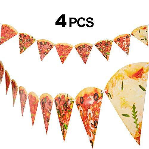 4 Stücke Pizza Foto Banner Pizza Wimpel Pizza Party Thema Dekoration für Pizza Themen Geburtstag Baby Shower Party Versorgung, Vormontiert