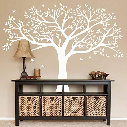 AIYANG Giant Familie Boom Muurstickers Vlinder Vogels Muurstickers Kids Kamer Kwekerij Slaapkamer Woonkamer Decoratie Kleur: wit