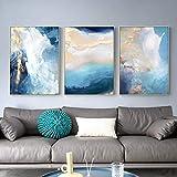 Lámina dorada abstracta moderna Lienzo azul Arte de la pared Arte de la pared Carteles e impresiones nórdicos Imagen artística para la decoración de la sala de estar -50x70cmx3 No Frame