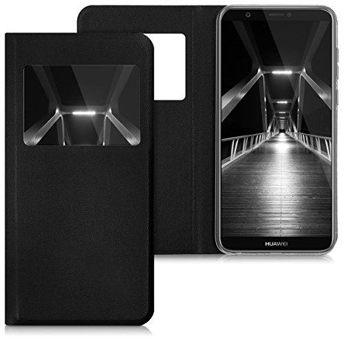 kwmobile Cover compatibile con Huawei Enjoy 7S / P Smart (2017) - Custodia magnetica apertura a libro con finestra pelle sintetica
