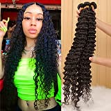 10A Brazilian Deep Wave Bundles (26 24 22) Virgin Human Hair Bundles Wet and Wavy Curly Hair 3 Bundles Weave Hair Human Bundles