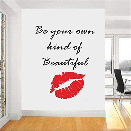 Cyalla Citation De Maquillage Stickers Muraux Lèvres Décor Rouge À Lèvres Mascara Decal Beauté Salon Cosmétiques Make Up Artiste Chambre Décor 42 * 52 Cm
