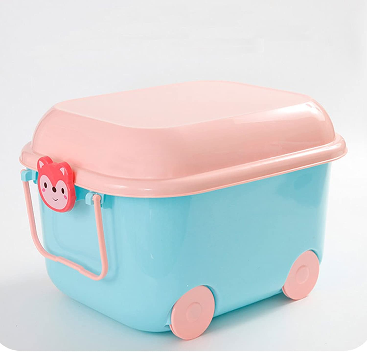 Plastic Toys Collection Box Cartoon Finishing Box with Covered Storage Box, Sundries and Household Items (color   bluee)