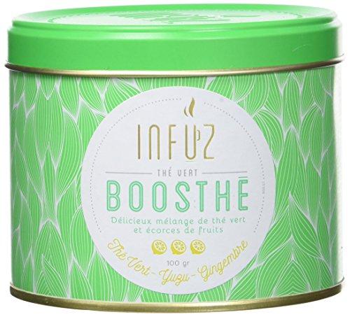 Infuz – Boosthé – Thé vert en vrac tonifiant pour commencer la journée – Thé vert, yuzu & gingembre, 100g