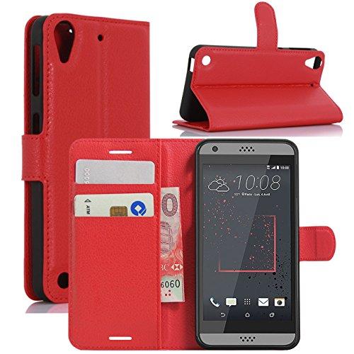 HualuBro HTC Desire 530 Hülle, Premium PU Leder Leather Wallet HandyHülle Tasche Schutzhülle Flip Hülle Cover für HTC Desire 530 Smartphone (Rot)