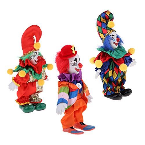 3pcs 7 Zoll Porzellan Lächelnde Clown Puppe, Die Bunte Ausstattungen, Lustige Harlekin Puppe, Zirkus Stützen, Halloween Dekor Trägt