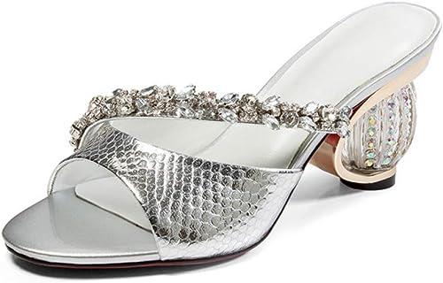 JRSHODA Damen Silber Silber Silber Strass Rutschen Neue Sommer High Heels Schuhe Sandbeach Open Toe Hohl Rosa Blau Kristall Rutschen  praktisch