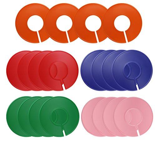 Dreamtop 20 Stück Größenfinder Kleiderbügel Bunt Leer Schrank Größenreiter Rund Kleidung Rack Ringscheiben