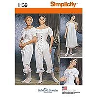 Simplicity 1139 レディース 南北戦争 歴史的なコスチューム 裁縫パターン サイズ6~12
