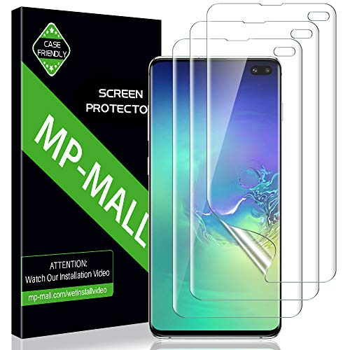 MP-MALL [3 Pack] Screen Protector for Samsung Galaxy S10 Plus / S10+, HD Clear Screen Protector [Full Coverage] [Flexible Film]