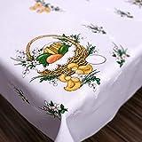 """MforStyle, tovaglia pasquale, design con pollo felice e uova, Poliestere, bianco, 43"""" (110cm) x 59"""" (150cm)"""
