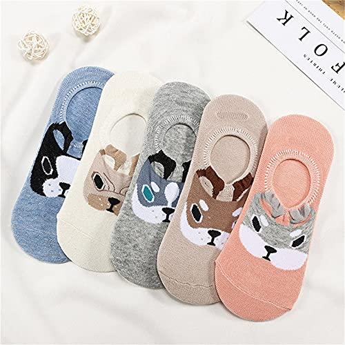 27 Estilos 10 Piezas = 5 par/Lote Lindo Animal Mujeres Calcetines Conjunto Divertido Primavera Gato Perro Conejo Panda Escotado calcetín Corto Feliz-a4