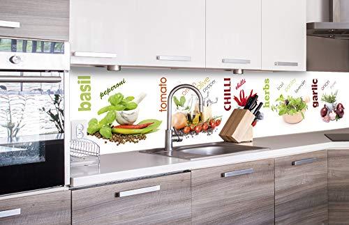 DIMEX LINE Küchenrückwand Folie selbstklebend GEWÜRZ | Klebefolie - Dekofolie - Spritzschutz für Küche | Premium QUALITÄT - Made in EU | 260 cm x 60 cm