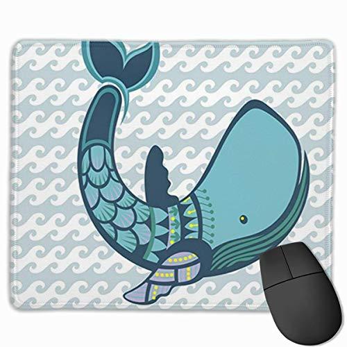 Nettes Gaming-Mauspad, Schreibtisch-Mauspad, kleine Mauspads für Laptop-Computer, Mausmatte Blau Amüsant Glücklicher Cartoonwal und süßes Wassertier Buntes Aquarium Aquatisch Groß