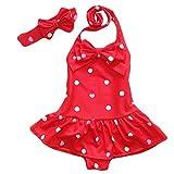 Jastore Baby Girls Swimwear One Piece Swimsuits Beach Wear with Headband (3-4T, Red)