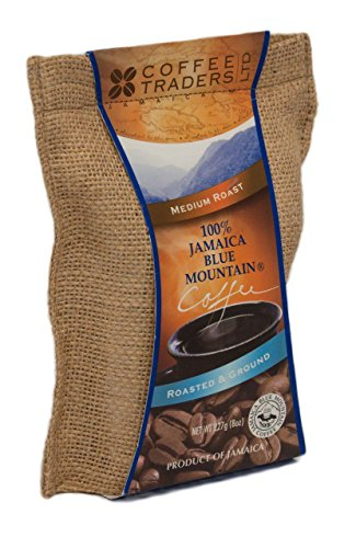 Coffee Traders One-hundred Percent Jamaica Blue Mountain Coffee with Certificate of Origin, Medium Roasted and Ground, 8 Ounce Bag