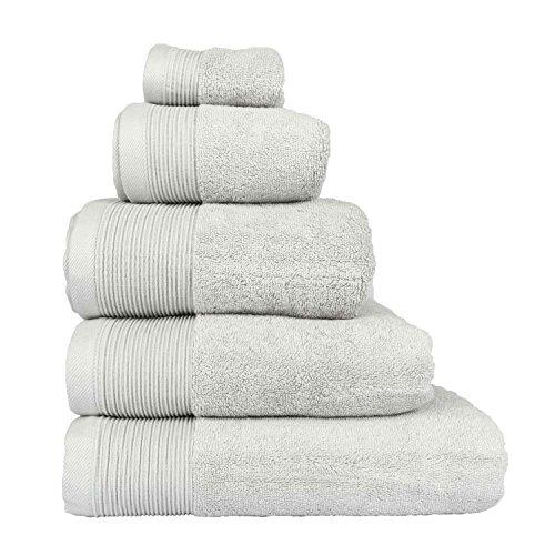 Homescapes–Asciugamano Suprema lusso morbido e assorbente in cotone egiziano Grigio Argento 700g/m², cotone egiziano, grigio argento, Drap de bain
