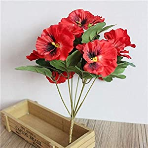 Silk Flower Arrangements Artificial and Dried Flower 5 Heads Artificial Simulation Orchid Silk Flower Pansy Artificial Fake Wedding Party Home Table Decoration Supplies - ( Color: Beige )
