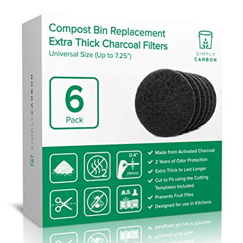 2 Years Supply Extra Thick Filters for Kitchen Compost Bins - Longer Lasting Activated Charcoal - Universal Size Fits ALL Compost Bins up to 725 Filter Size - Replacement Set of 6 by Simply Carbon
