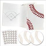 FNSふせん野球ボール柄2冊+野球ノート(A6サイズ)ミシン綴じタイプ2冊+シール2枚セットプライム