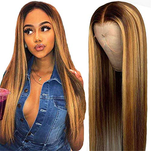 Ucrown T-Part 4/27 Lace Front Wig Human Hair 13x4x1 Pre Plucked Middle Part Lace Wigs with Baby Hair Brazilian Straight Blonde Human Hair Wigs for Black Women 150% Density (18inch, 4/27)
