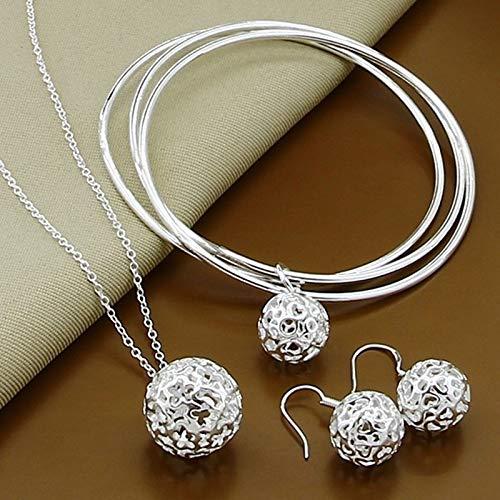 XKMY Joyería para mujer plata de ley 925 moda simple bola redonda collar brazaletes pendientes joyería conjunto para mujeres hombres regalo