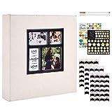 Benjia Álbum de fotos autoadhesivo, tamaño XXL, 30 x 30 cm, color blanco, álbum de fotos con pegatinas y esquinas de fotos para 10 x 15 cm, A4, A5, A6 (25 hojas/50 páginas), color beige