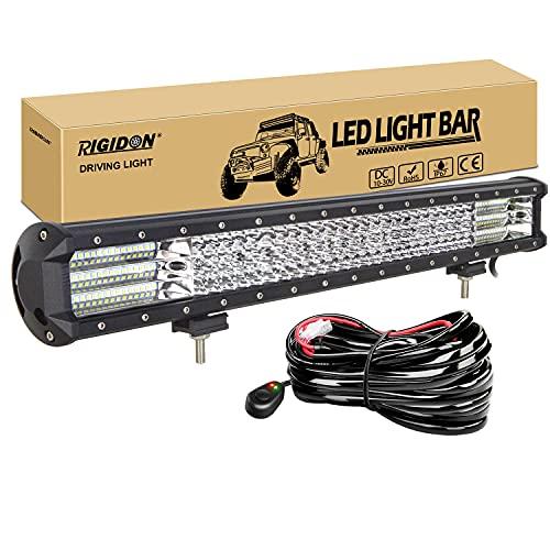 RIGIDON Barra de luz led con 12V kit de cableado, 23 pulgadas 570W, Quad Fila Barras luminosas led para off road camión coche SUV tractor 4x4 , Foco led inundacion luz, 6000K led faros antiniebla