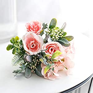 Silk Flower Arrangements Artificial and Dried Flower 1Bouquet Artificial Flowers Hydrangea Silk Bouquet Decoration Camellia Peony Rose Wedding Home Party Decor Fake Flower - ( Color: Rose Pik )