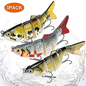 3-Pack Multi-Jointed Fishing Lures – Slow Sinking Life-Like Bass Swimbaits – Premium Quality Durability - Sharp Treble Hooks – 3D Eyes Gravity Ball – Targets Bass, Perch, Walleye, Pike, Muskie, Trout