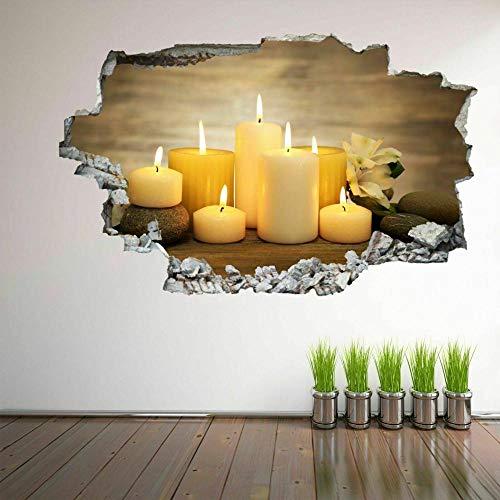Pegatinas de pared Stones Candles Wall Art Stickers Mural Decal Beauty Massage Salon Decor EC25