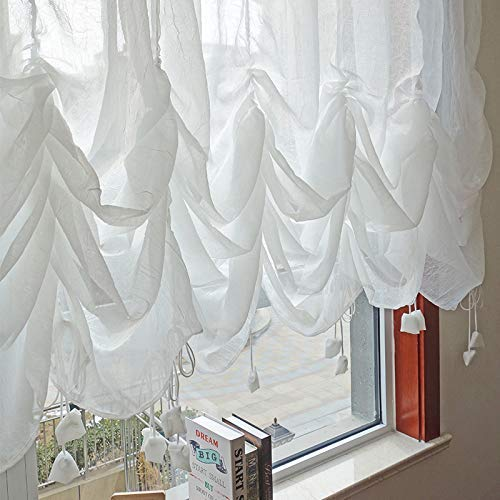 FADFAY Farmhouse White Lace Shabby Elegant Chic Sheer Curtain, Adjustable Tie-Up Curtain Shades, 1 Panel Shabby Tulle Curtains for Window 78'x59'