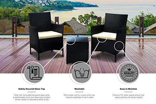 IDS Home 3-Piece Compact Outdoor/Indoor Garden Patio Furniture Set Black PE Rattan Wicker Seat White Cushions