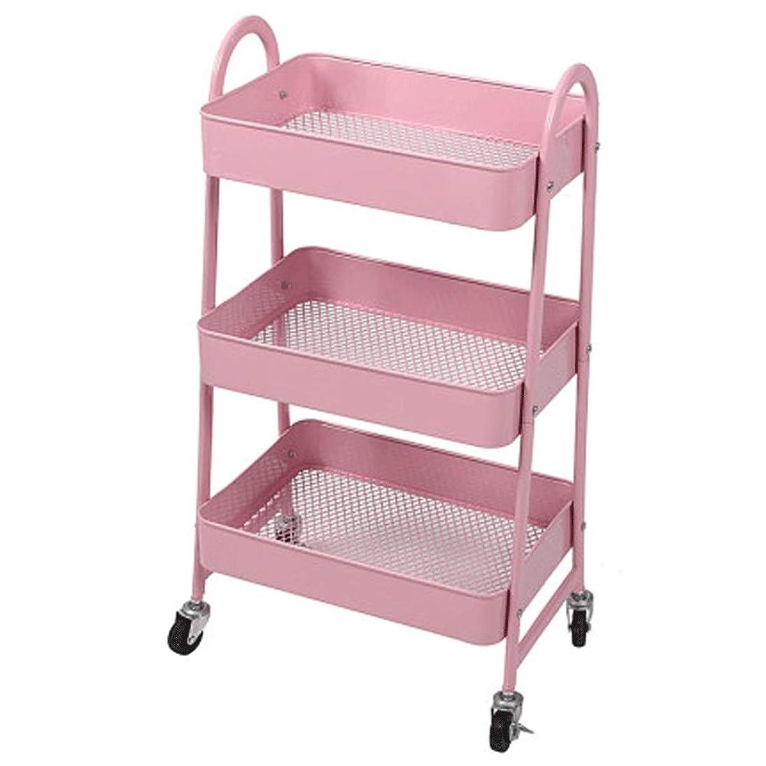 スワップ出会い外側JJSFJH 大規模なストレージ?金属ホイールのためにオフィス、キッチン、ベッドルーム、バスルーム、キッチンモバイルプーリーストレージラック付き3ティアユーティリティローリングカート (Color : Pink)