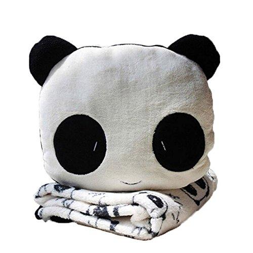 SODIAL(R) Set di Coperta e Cuscino a Forma di Panda Suess Set di Coperta e Cuscino a Forma di Panda di Velluto a Corallo Morbido.(Nero, Bianco)