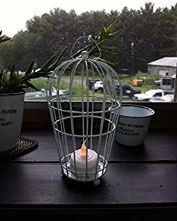Bird Cage Lantern Candle Holder Hang or Stand White