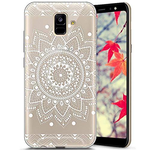 Surakey Compatible avec Coque Samsung Galaxy A6 2018,Transparente Silicone Housse Étui Protection TPU Bumper Téléphone Couverture Crystal Clair Coque pour Galaxy A6 2018 (Mandala de fleurs blanc)