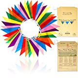 Premium Reusable Bunting Banner - Bunting Outdoor Waterproof - Polyester Fabric Birthday Bunting - Outdoor Party Decorations - Rainbow Festival / Garden Bunting - As Seen on TV (46ft, 42 Large Flags)