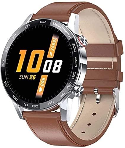 Smart Watch 1 3 pulgadas de alta definición de pantalla de color pulsera inteligente multifunción Bluetooth pulsera deportiva lujo plata acero-marrón cuero