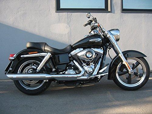 Terminali Scarichi Finali in Acciaio Cromati 2 in 1 Modello Edition Edizione 100 Tondo Slash Cut MCJ Omologati a Norma con Sonorità Regolabile Variabile per Moto Harley Davidson Per Dyna FXDL Low Rider (escluso FXDLS) dal 2006 al 2016 per il mercato Europeo
