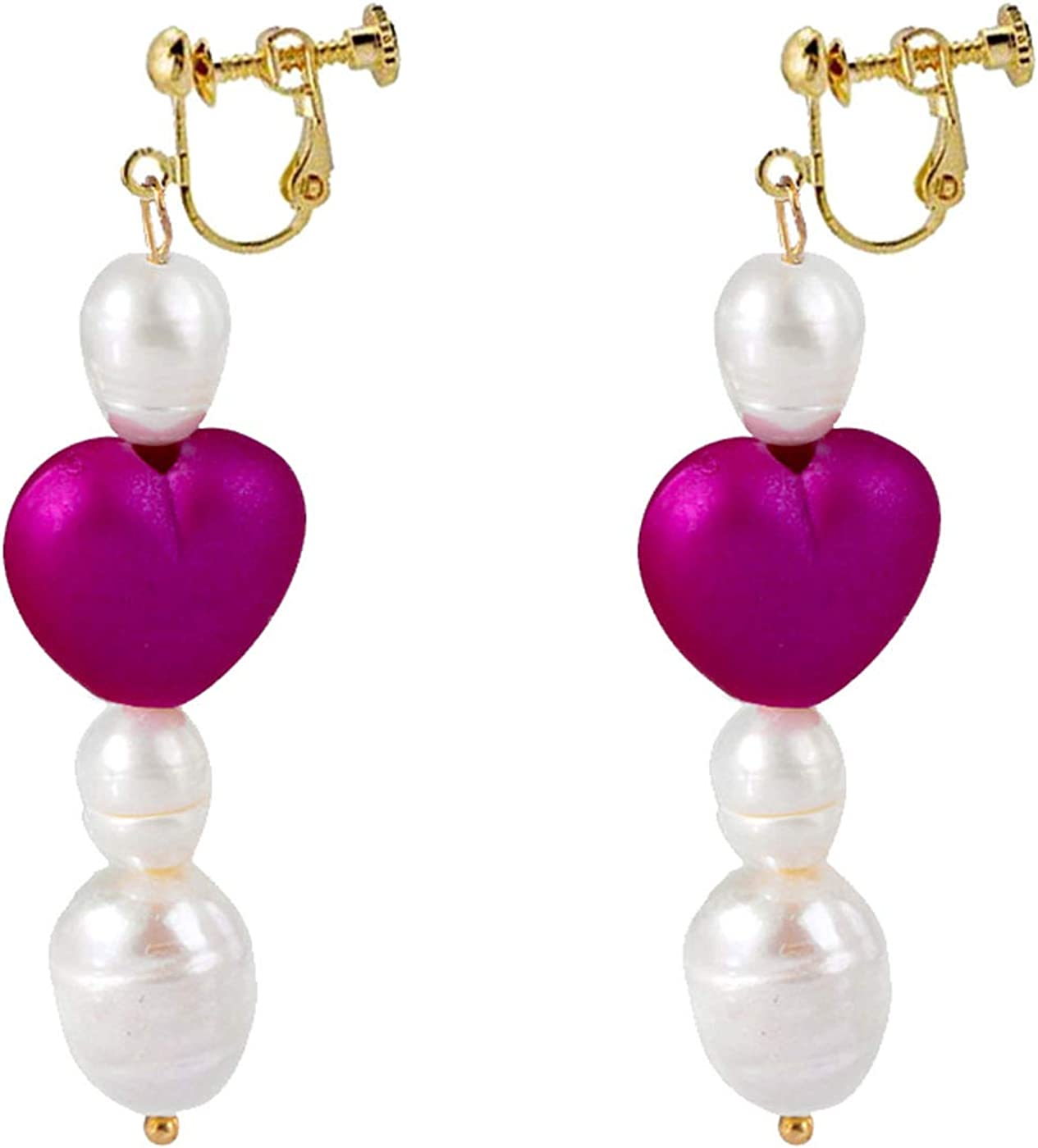 Retro Clip on Earrings for Women Girl Simulated Pearl Tassel Love Heart Earrings Tassel Sweet Non Pierced