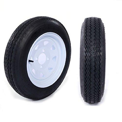 """Two Trailer Tires & Rims 4.80-12 480-12 4.80 X 12 12"""" 4 Lug Wheel White Spoke, Set of 2"""