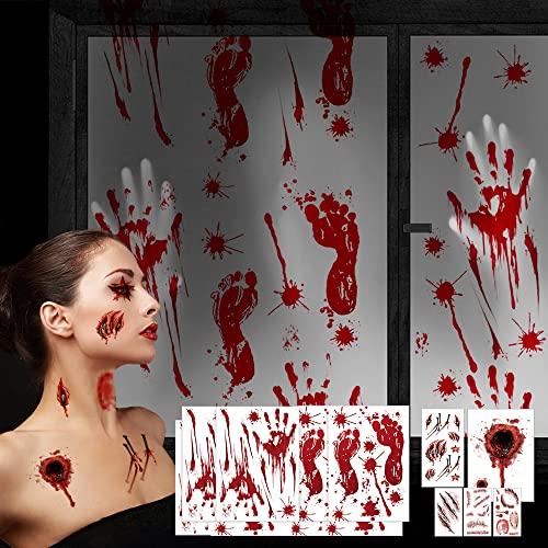 138 Pegatinas de Halloween Decoracion y Tatuajes Halloween Calcamonias, Pegatinas Huellas Manos Sangrientas Decoración de Halloween Horrible, Sangrienta Adhesivos Adornos de Ventana