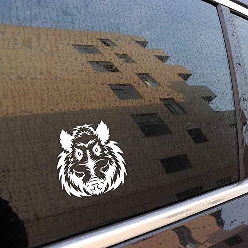 DCJ® Auto-Aufkleber 17.8CM x 18.9CM EIN Wilder Wildschweinkopf Vinyl Schwarz Silber Auto Aufkleber Aufkleber