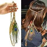 Boemia cococity Fascia per Capelli Hippie per Donna Copricapo in Stile Boemia//Indiano con Piume e Perle Accessori per Decorazione dei Capelli